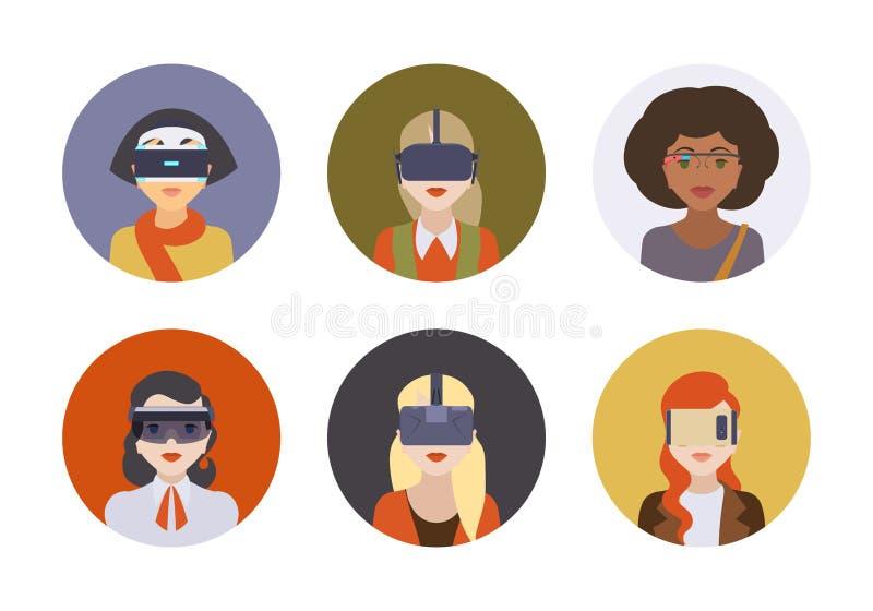Vrouwen in de virtuele werkelijkheidshoofdtelefoons royalty-vrije illustratie