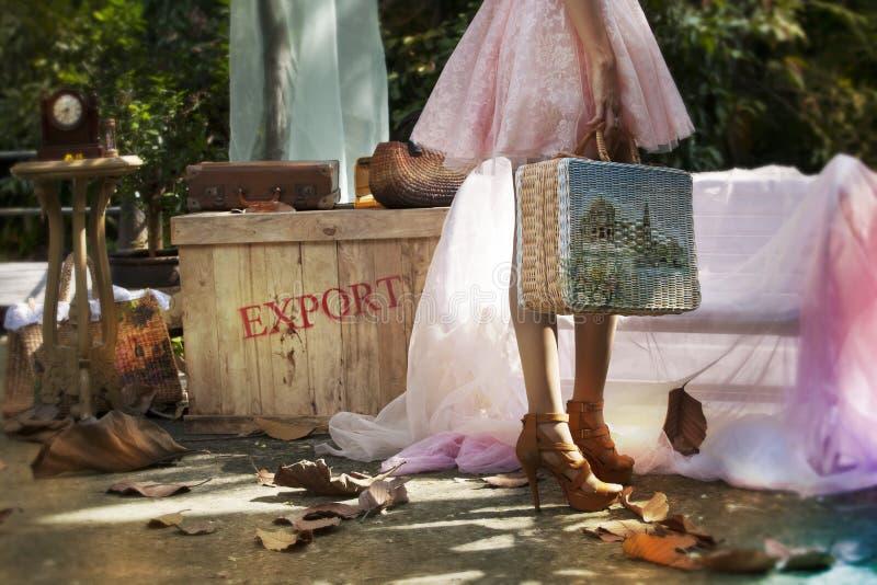 Vrouwen die bagage dragen om te reizen royalty-vrije stock afbeelding