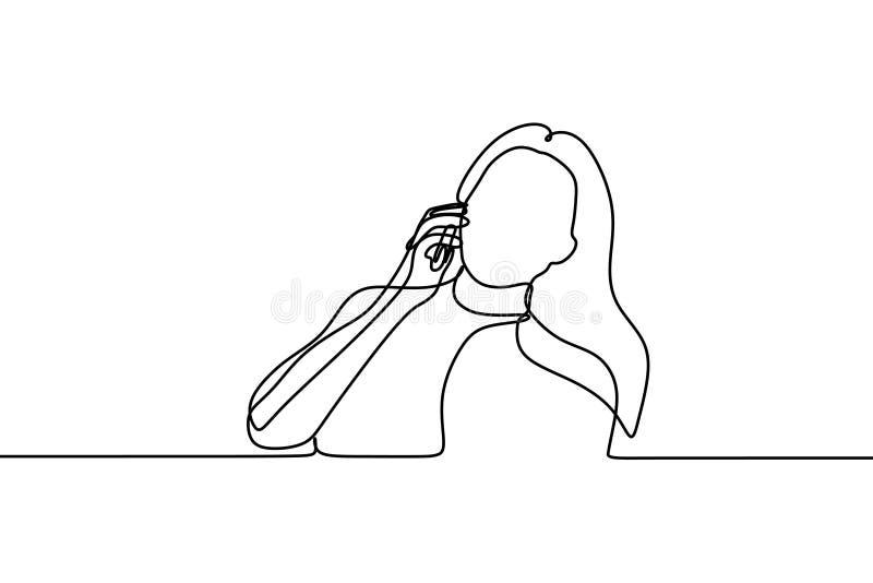 Vrouwen die de mobiele tekening van de telefoon ononderbroken lijn gebruiken stock illustratie