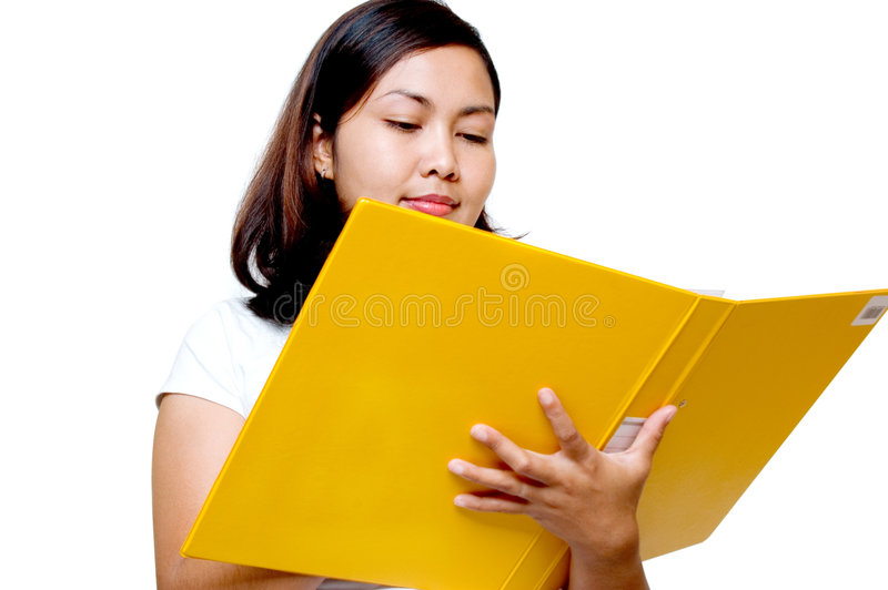 Vrouwen die een dossier houden stock afbeelding