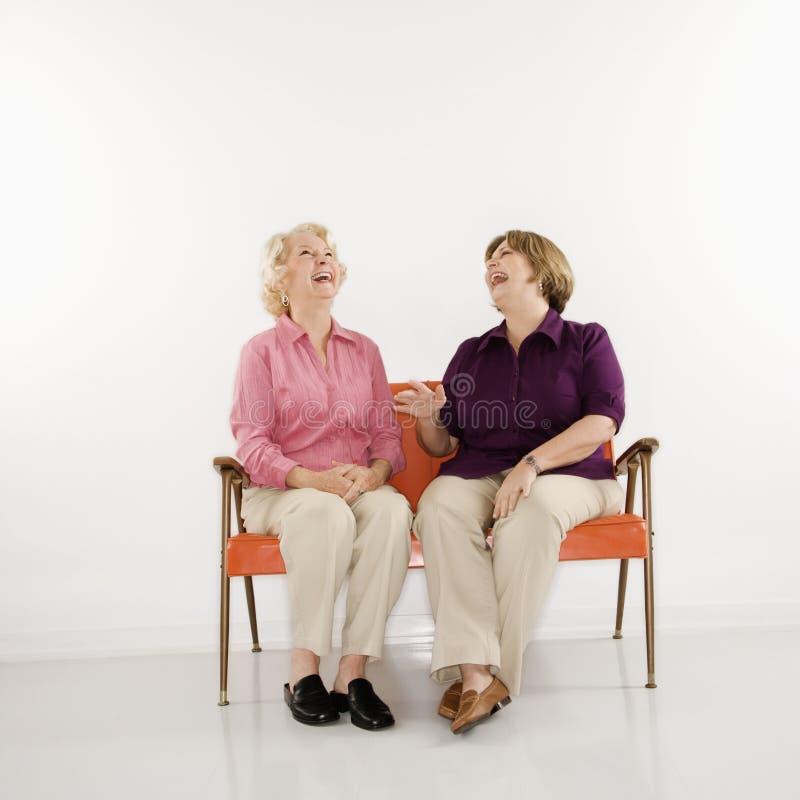 Vrouwen die het lachen zitten. stock fotografie