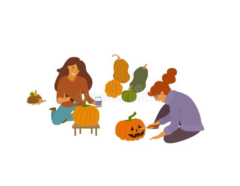 Vrouwen die het snijden verfraaien en pompoenen vectorillustratie schilderen stock illustratie