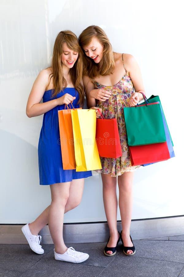 Vrouwen die het winkelen zakken bekijken stock afbeeldingen