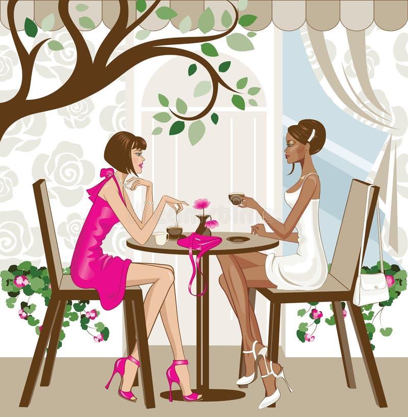 Vrouwen die koffie hebben royalty-vrije illustratie