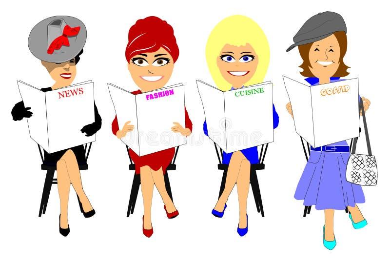 Vrouwen die kranten lezen stock illustratie