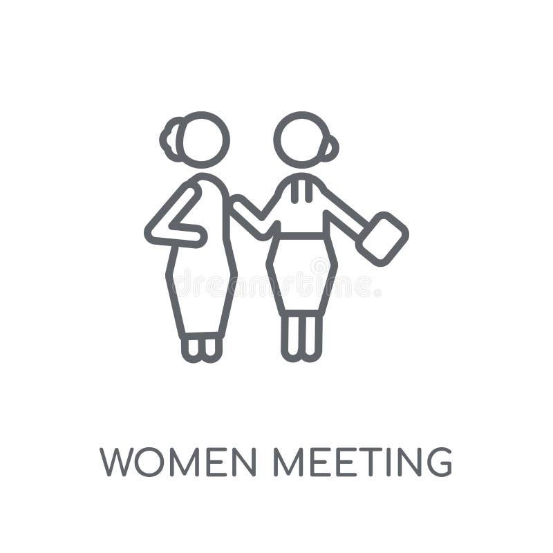 Vrouwen die lineair pictogram ontmoeten De moderne overzichtsvrouwen die embleem ontmoeten bedriegen stock illustratie