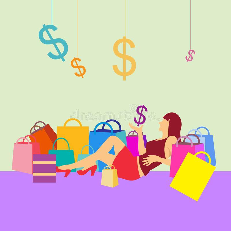 Vrouwen die met dollar pictogram en het winkelen zakken gaan zitten royalty-vrije stock afbeeldingen