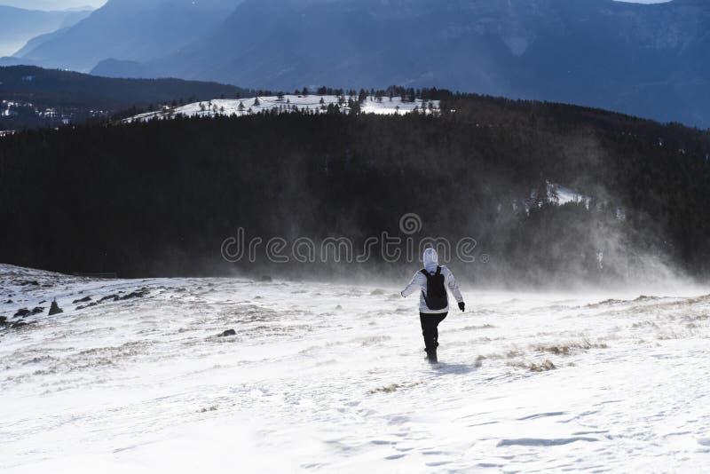 Vrouwen die met een backpackt hrough een sneeuwstorm op de bovenkant van een berg in Zuid-Tirol Italië wandelen stock foto