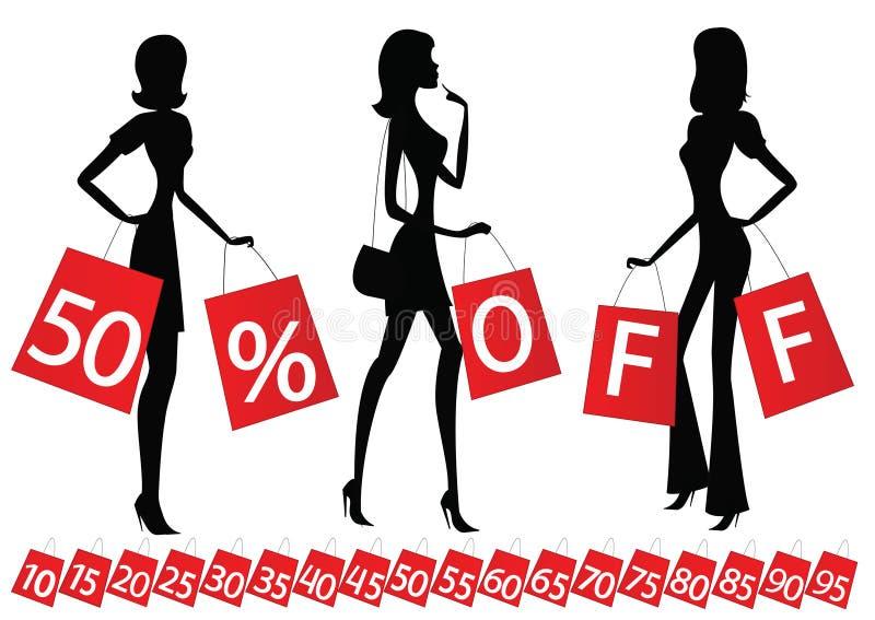 Vrouwen die met inschrijving \ winkelen vector illustratie
