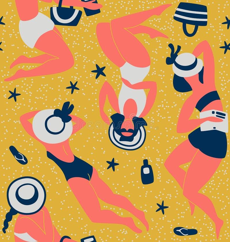 Vrouwen die Naadloze patroon vectorillustratie zonnebaden royalty-vrije illustratie