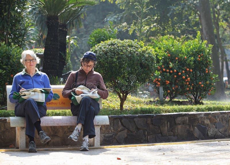 Vrouwen die onder zonlicht lezen royalty-vrije stock foto