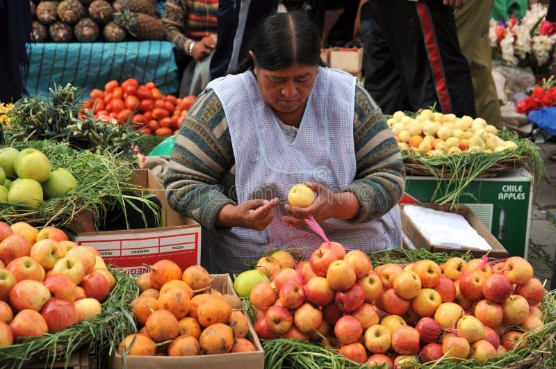 Vrouwen die op de straat van La Paz verkopen royalty-vrije stock foto