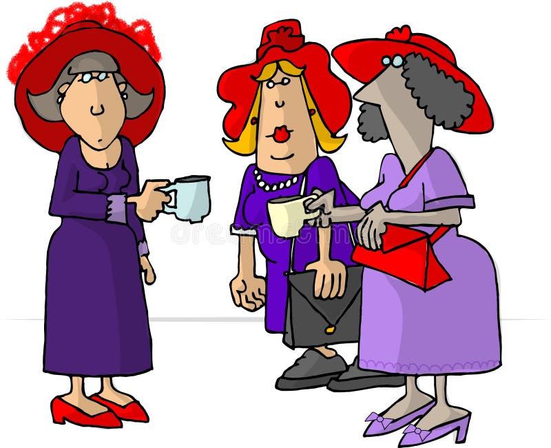 Vrouwen die in rode hoeden thee drinken stock illustratie