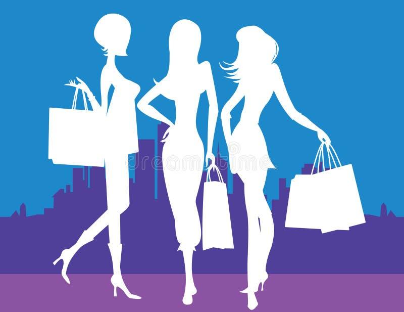 Vrouwen die in Stad winkelen stock illustratie