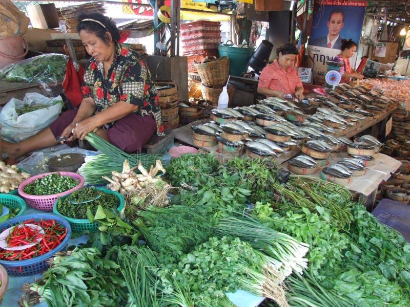 Vrouwen die Thais voedsel, Thailand verkopen. royalty-vrije stock fotografie