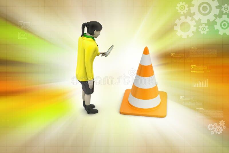 Vrouwen die verkeers op kegel letten vector illustratie