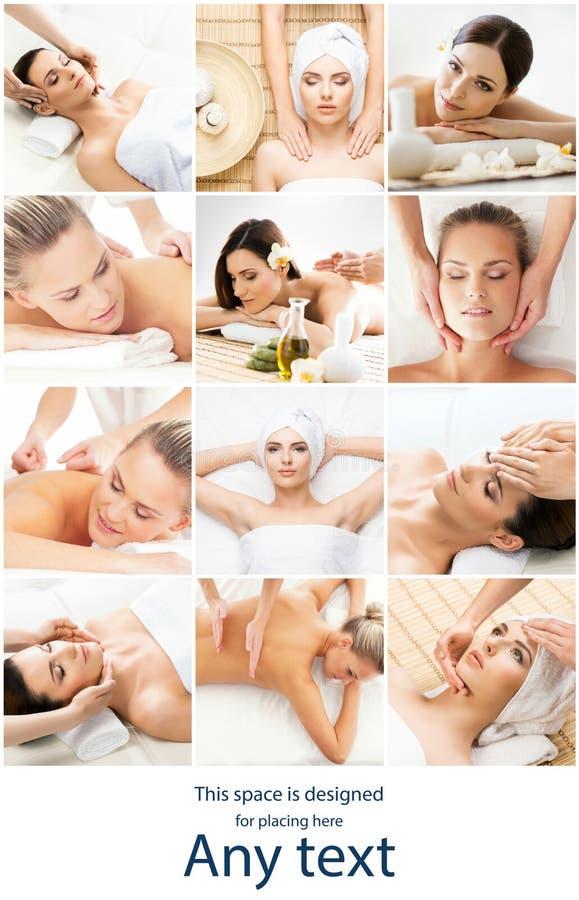 Vrouwen die verschillende soorten massage hebben kuuroord, wellness, gezondheidszorg en aromatherapiecollage Gezondheid, recreati stock fotografie