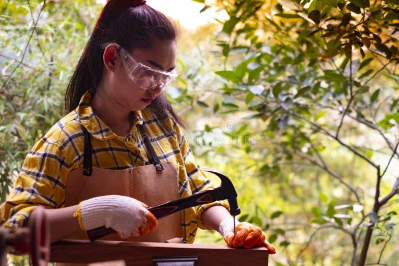 Vrouwen die zich bouwer bevinden die gecontroleerde overhemdsarbeider van bouwwerf het hameren spijker in houten draagt stock afbeelding