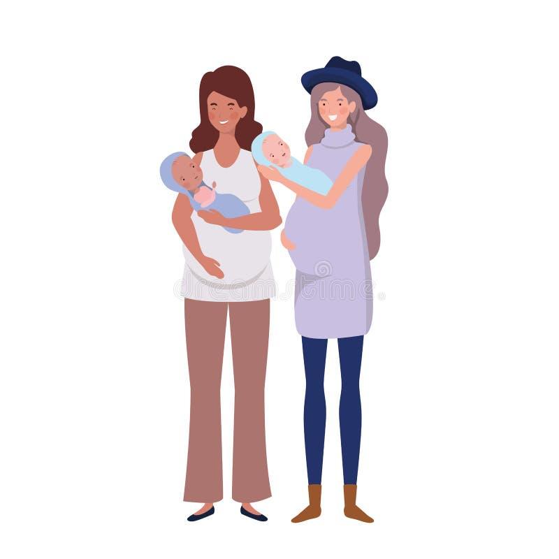 Vrouwen die zich met een pasgeboren baby in haar wapens bevinden royalty-vrije illustratie