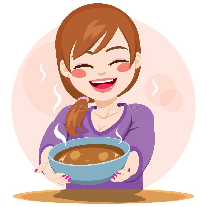 Vrouwen dienend voedsel royalty-vrije illustratie