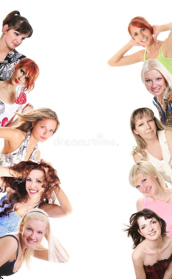 Vrouwen en banner stock foto's