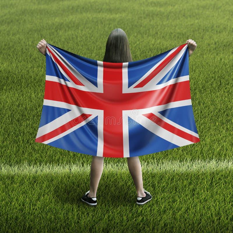 Vrouwen en Britse vlag stock foto's