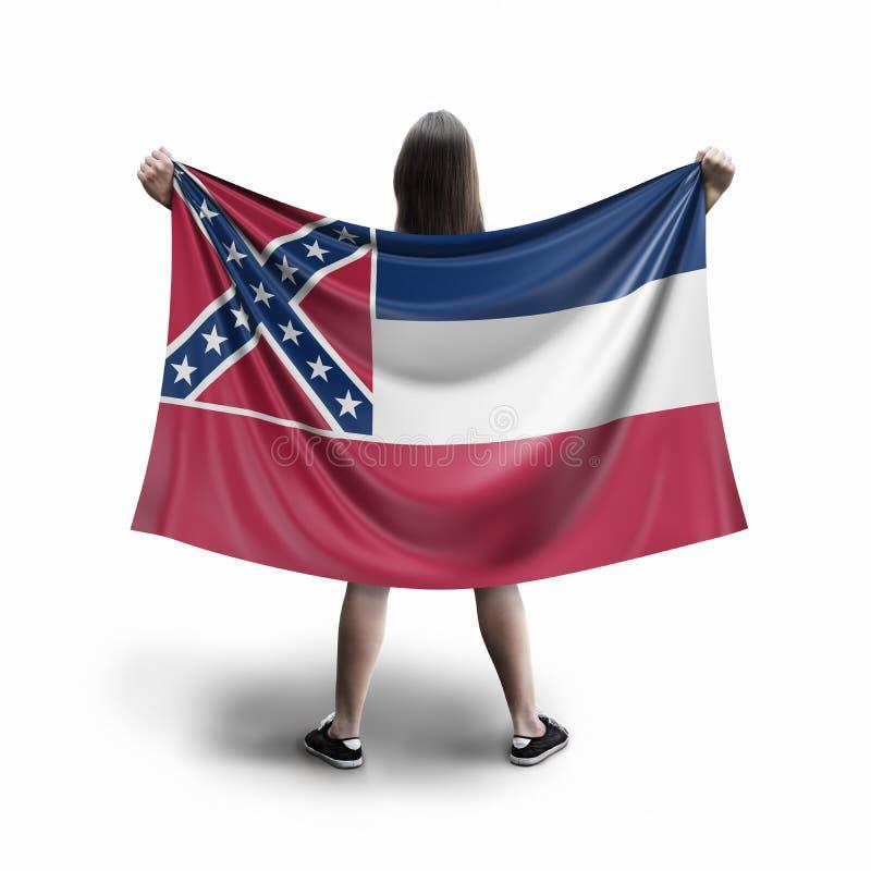 Vrouwen en de vlag van de Mississippi stock afbeelding