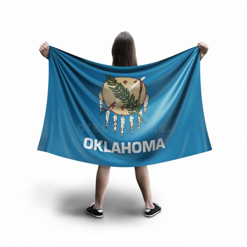 Vrouwen en de vlag van Oklahoma royalty-vrije stock afbeeldingen