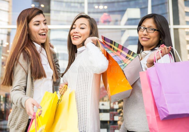 Vrouwen en het winkelen stock afbeelding