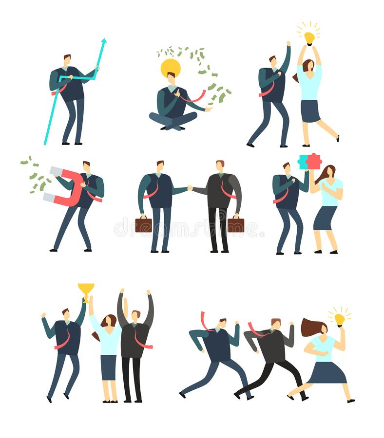 Vrouwen en mannen bedrijfsmensen die in diverse situatie handelen Vectorbeeldverhaalwerknemers royalty-vrije illustratie