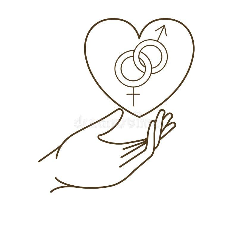 Vrouwen en mannen symbool met handenavatar karakter stock illustratie