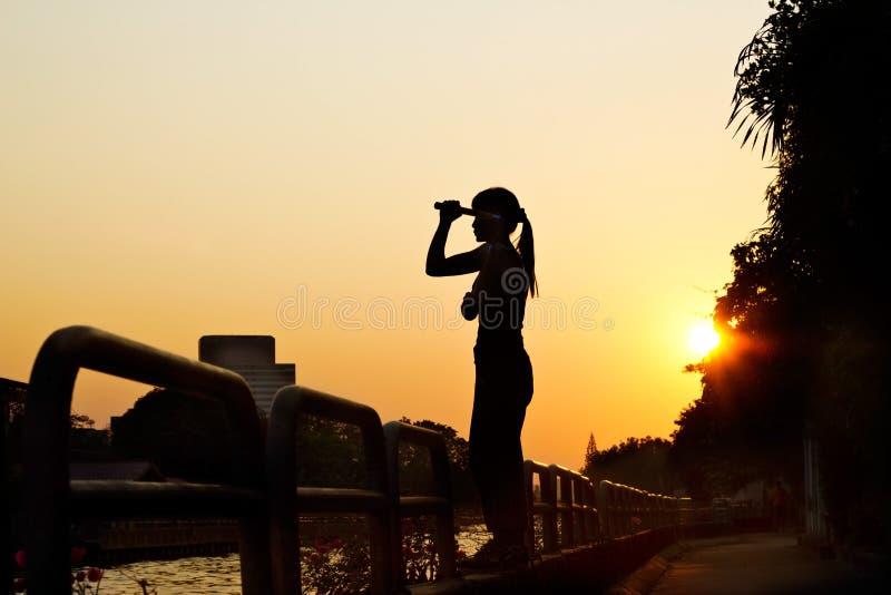 Vrouwen en nunchaku in handensilhouet in zonsondergang, vechtsporten royalty-vrije stock fotografie