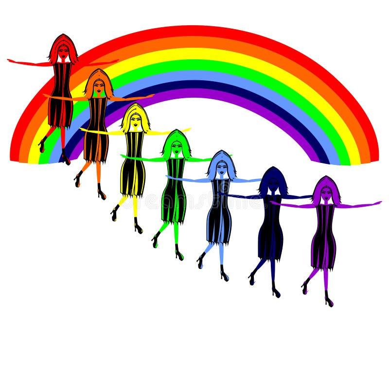 Vrouwen en regenboog royalty-vrije illustratie