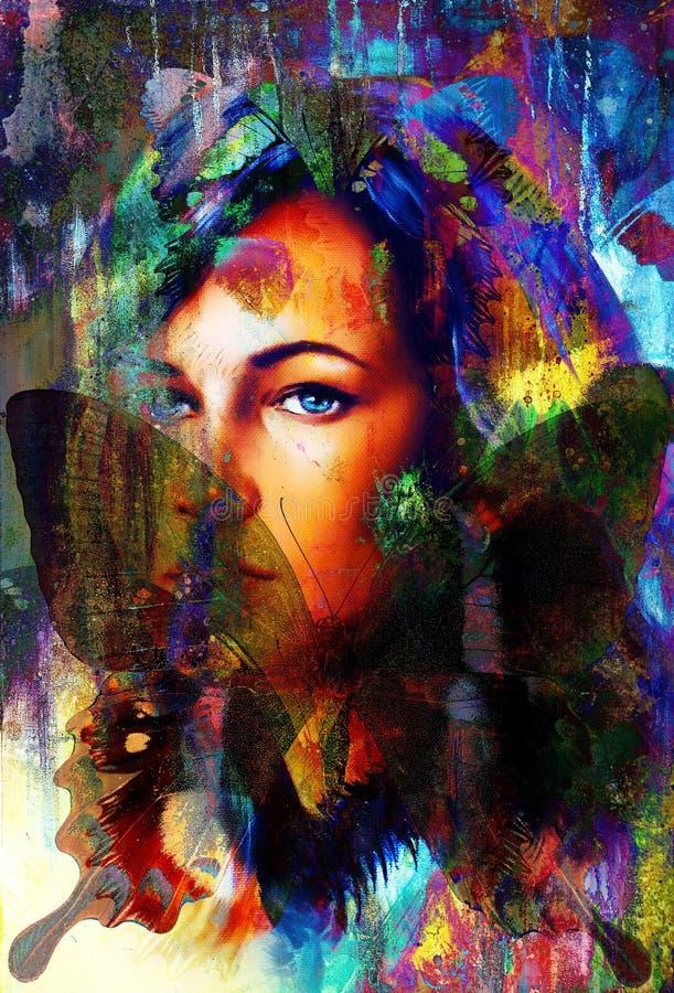 Vrouwen engelachtig gezicht en een vlinder Structuur en kleurencollageart. stock illustratie