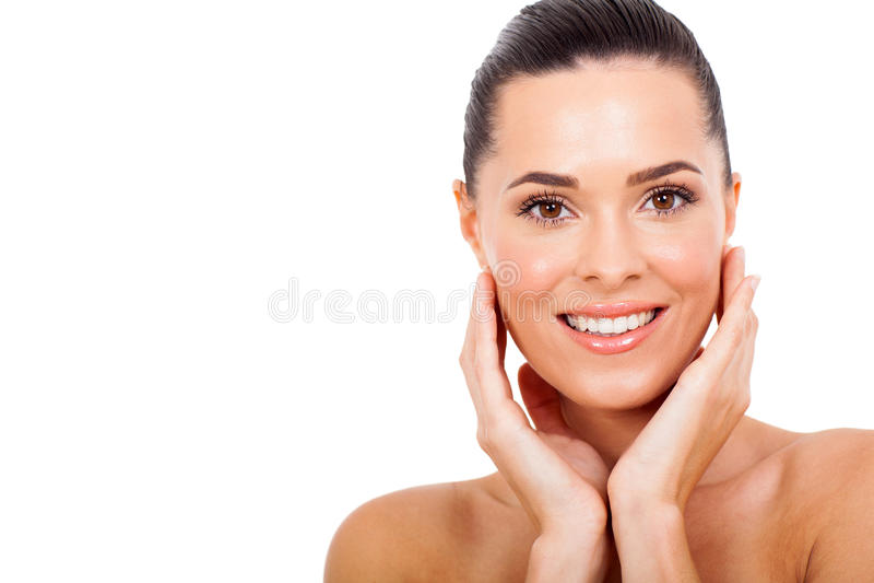 Vrouwen gezonde huid stock afbeelding