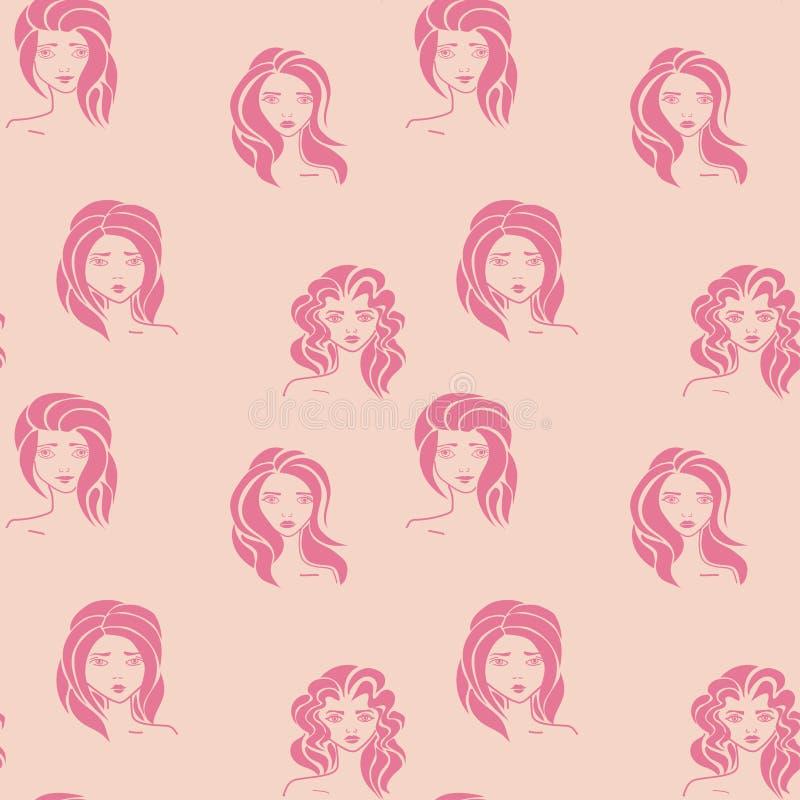 Vrouwen - hand getrokken naadloos patroon van een menigte van verschillende vrouwen royalty-vrije stock foto's