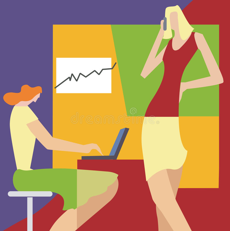 Vrouwen in het bureau stock illustratie