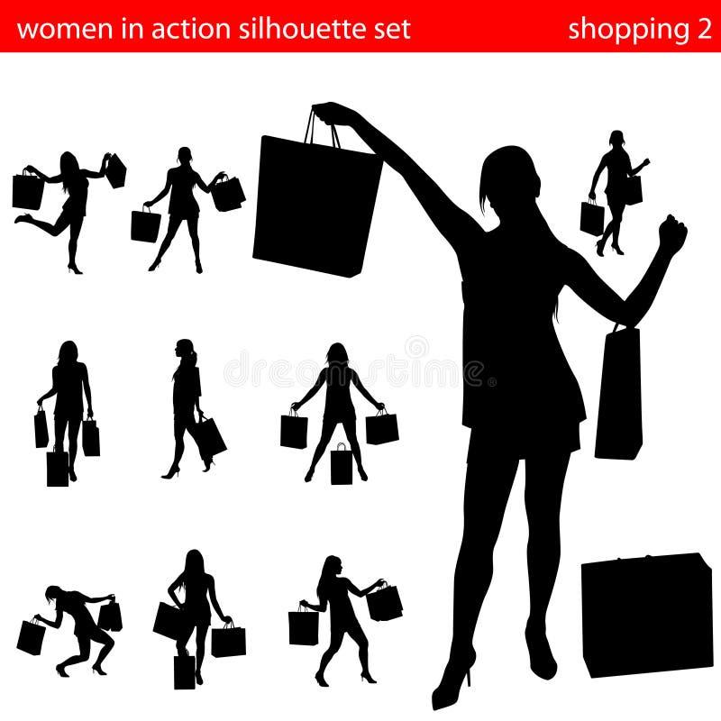 Vrouwen in het winkelen silhouetreeks 2 royalty-vrije illustratie