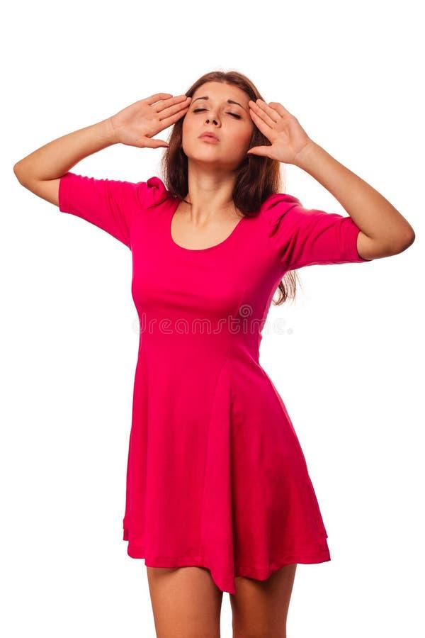 Vrouwen jong meisje onder de migraine van de spanningshoofdpijn stock afbeelding