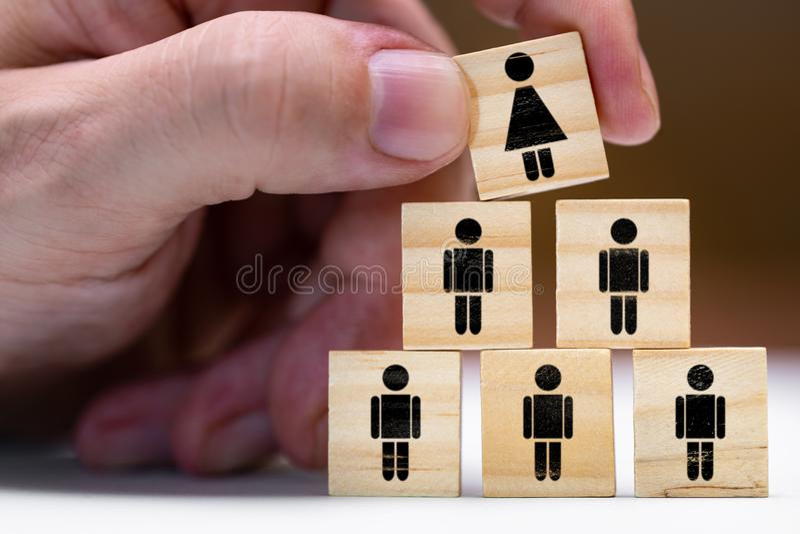 Vrouwen in leidingsposities of bevordering als vrouw royalty-vrije stock afbeelding
