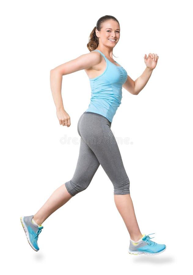 Vrouwen Lopende die Jogging op Wit wordt geïsoleerd stock foto