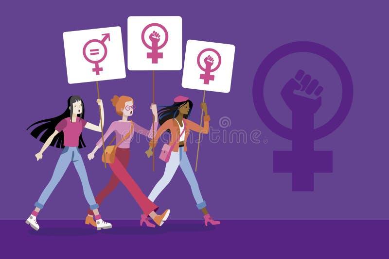 Vrouwen met aanplakbiljetten met het symbool van feministische strijd royalty-vrije illustratie