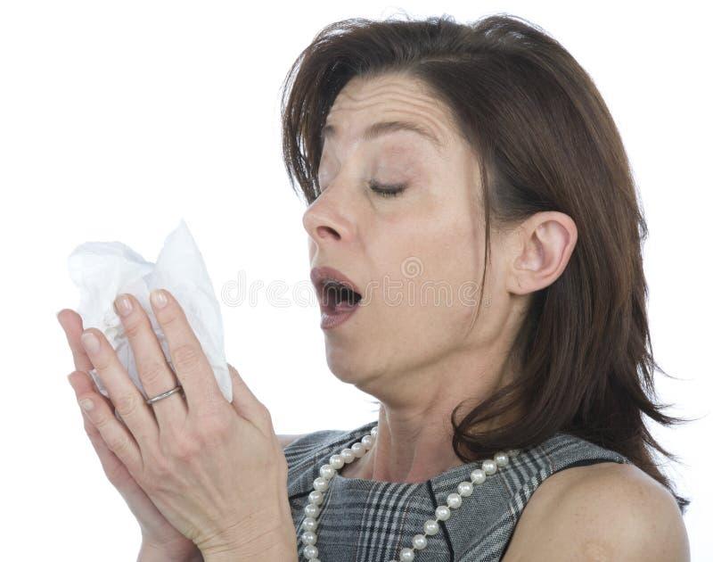 Vrouwen met allergieën royalty-vrije stock afbeeldingen