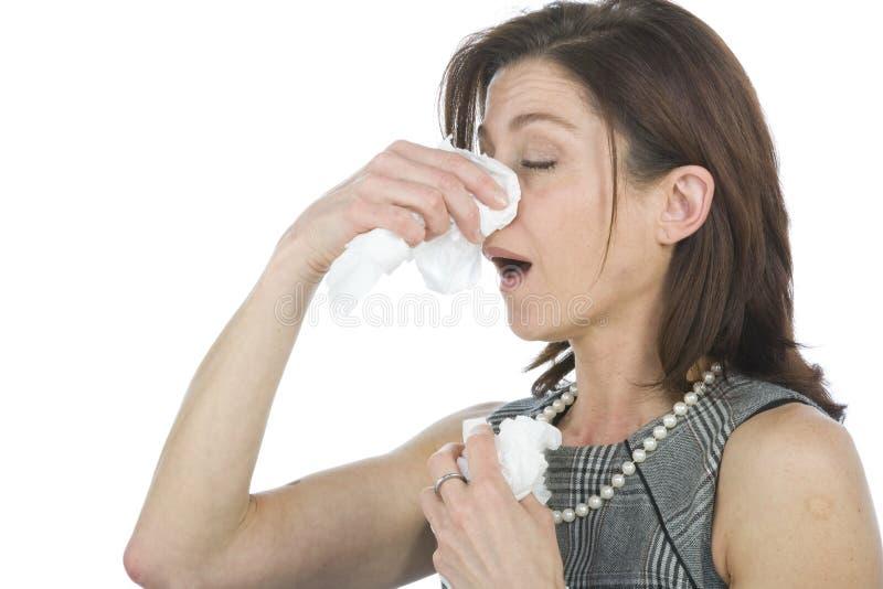 Vrouwen met allergieën stock afbeelding