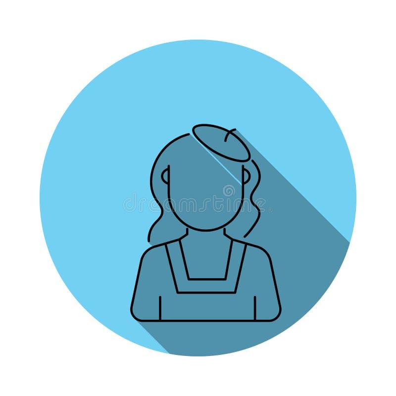 vrouwen met avatar van de baretschilder pictogram Elementen van avatar in vlak blauw gekleurd pictogram Grafisch het ontwerppicto royalty-vrije illustratie