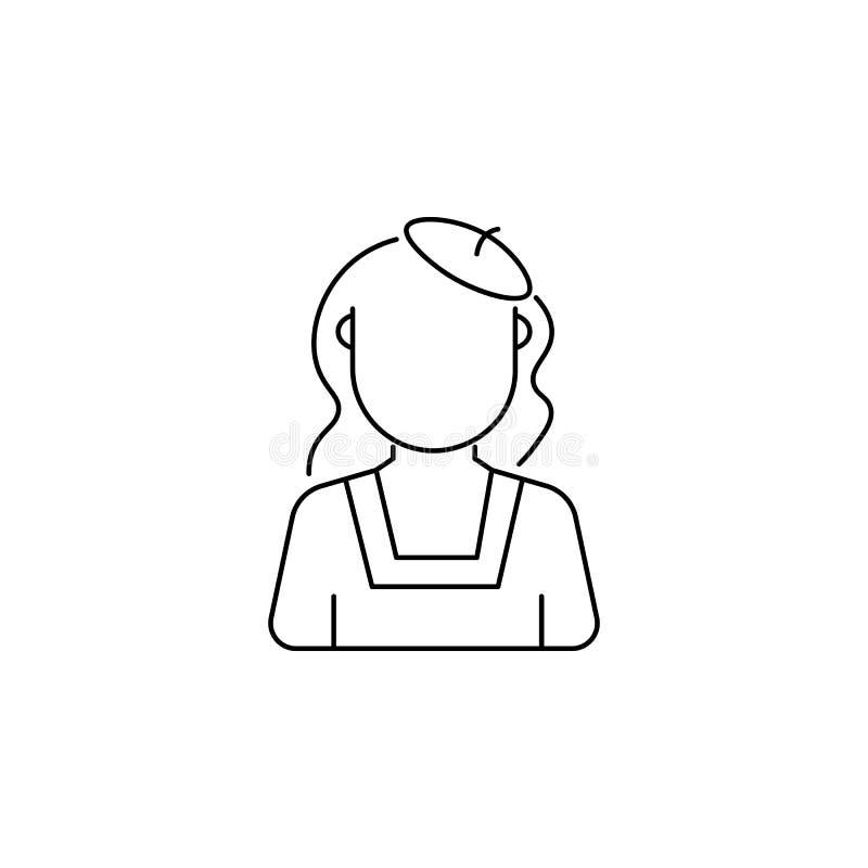 Vrouwen met baretavatar pictogram vector illustratie