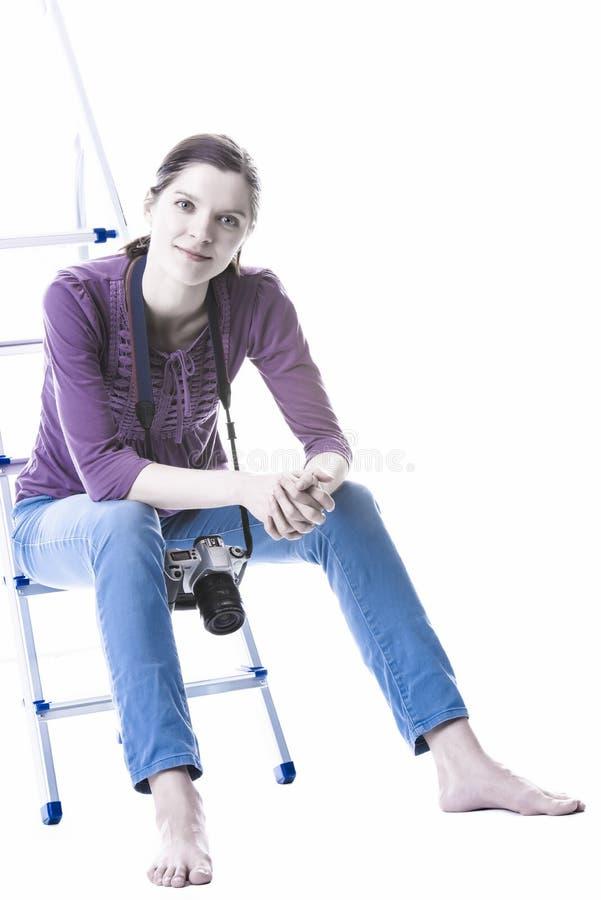 Vrouwen met camera royalty-vrije stock fotografie