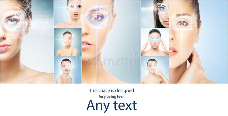 Vrouwen met een digitaal laserhologram bij de hun ogeninzameling stock foto's