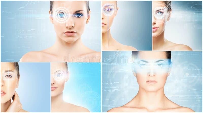 Vrouwen met een digitaal laserhologram op ogencollage royalty-vrije stock afbeeldingen