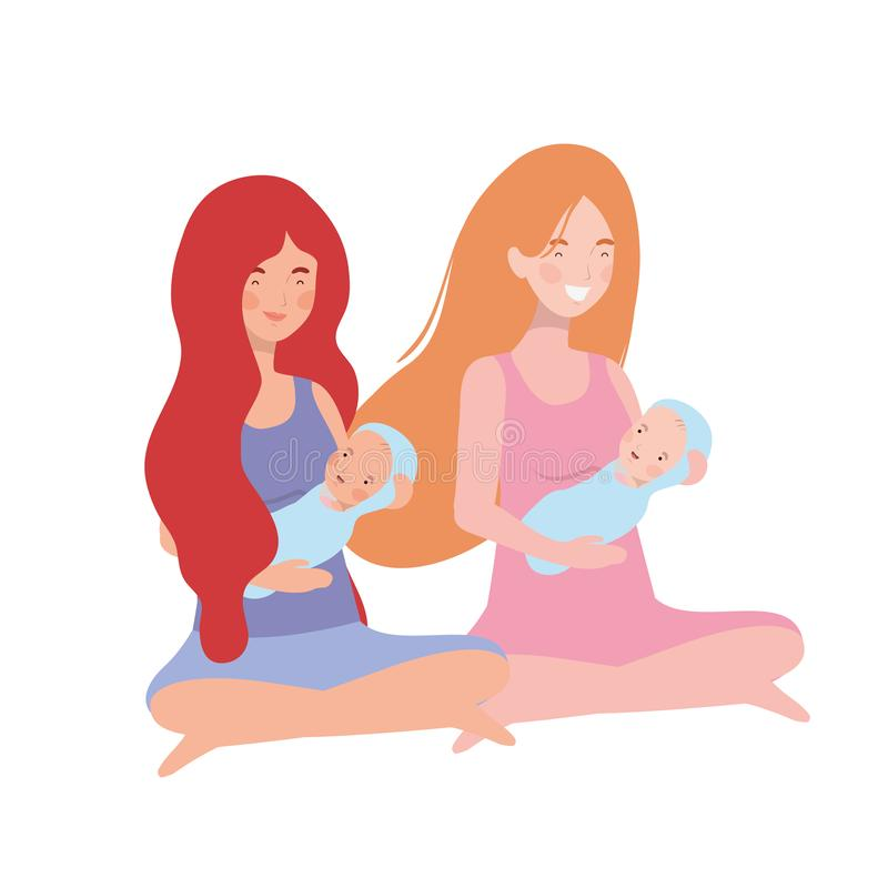 Vrouwen met een pasgeboren baby in haar wapens vector illustratie
